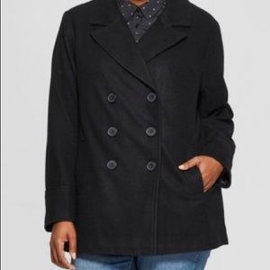 Ava & Viv Black Plus Size Wool PeaCoat 4X NWOT